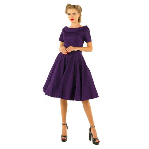 230d0c9ca26f9 D&D Darlene Swing Dress Purple with Black Dots