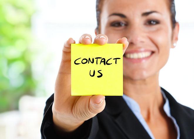 Beautiful businesswoman showing _contact