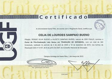 Certificado Pós-Graduação de Tradução em