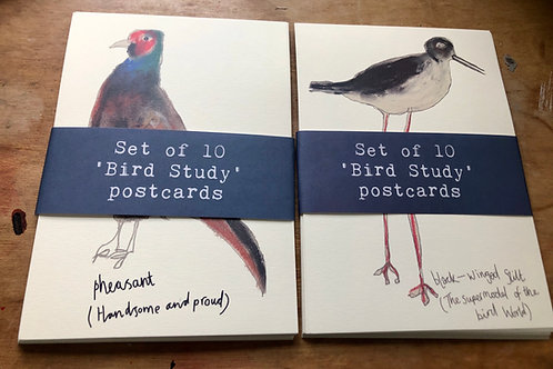Set of 10 'Bird Study' postcards