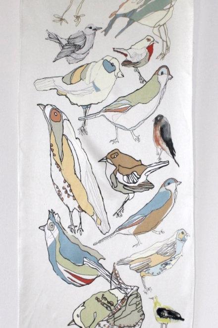 Bird Repeat Silk Scarf
