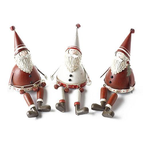 Metal Sitting Santas