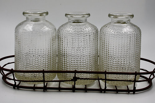 Wire Tray With Glass Bottles