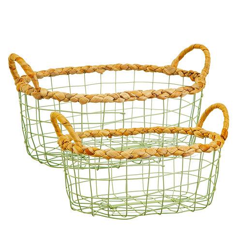 Green wire storage basket pair