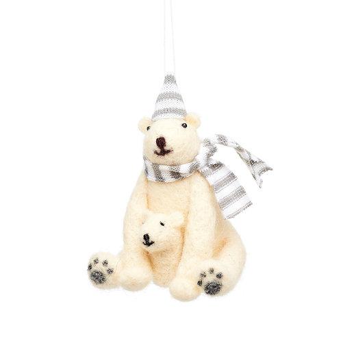 Polar Bear with Baby Decoration