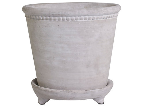 Flower pot with pearl edge & saucer