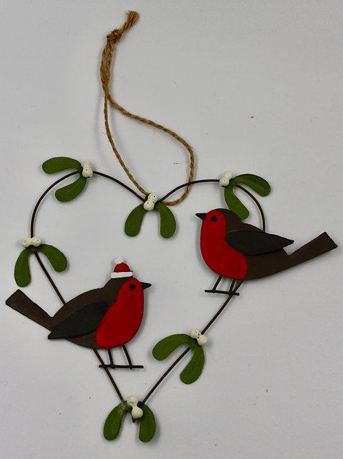 Robin & Mistletoe Heart