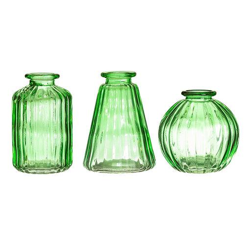 Set of three glass bud vases
