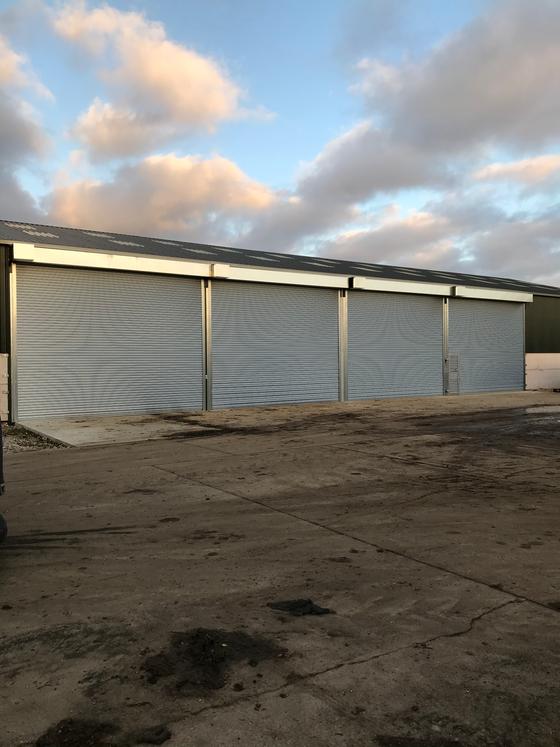 Four Industrial Shutters and Wicket Door