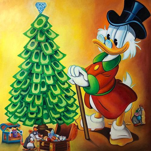 Dagobert Duck am Weihnachtsbaum