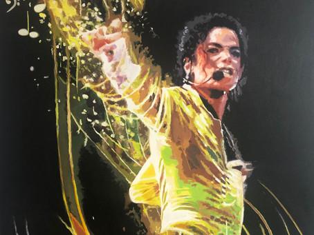 Michael Jackson - Golden Rain in Expressionistischer Popart