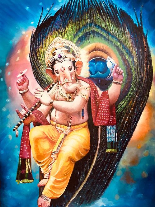 Ganesha spielt auf der Flöte