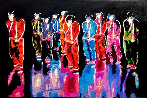 Michael Jackson mit Crew