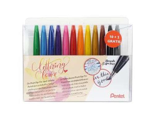 PENTEL Brush Sign Pen 12er Set