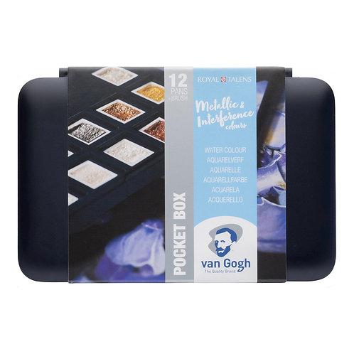 Van Gogh Aquarell Pocket Box Metallic Edition inkl. Aquarellpapier A4 schwarz