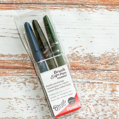 PENTEL Brush Sign Pen Pigment 3erSet