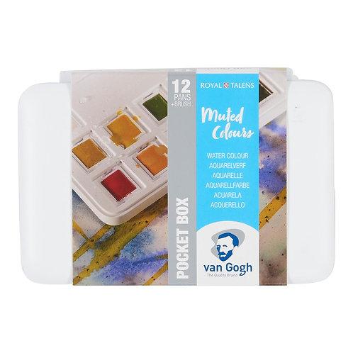 Van Gogh Aquarellfarbkasten gedeckte Farben mit 12 Farben in Halbschalen