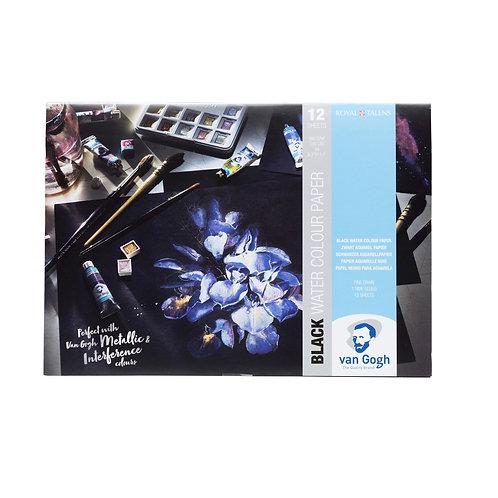 Aquarellpostkarte schwarz, 10,5 x 14,8 cm, 360 g, 25 Blatter,