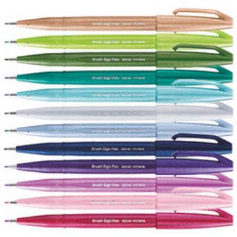 PENTEL Brush Sign Pen 12er Set Pastell