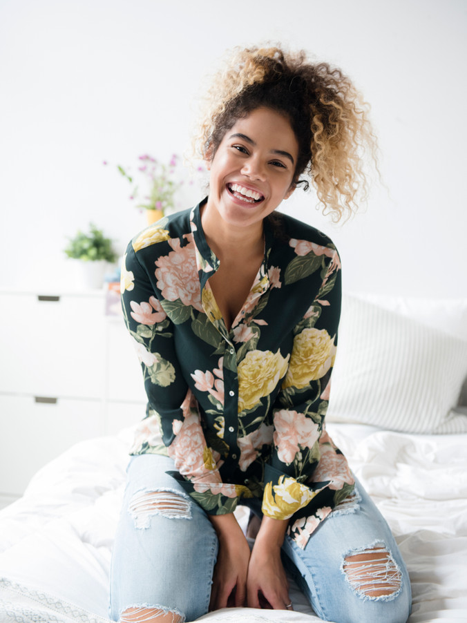 Woman with Flower Pattern Shirt