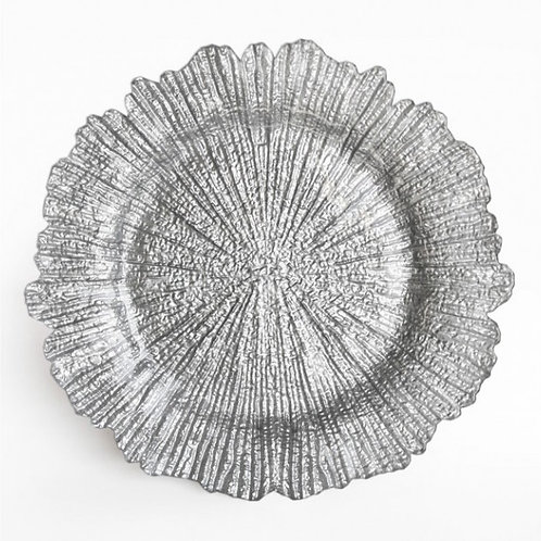Silver Leaf Glass Charger