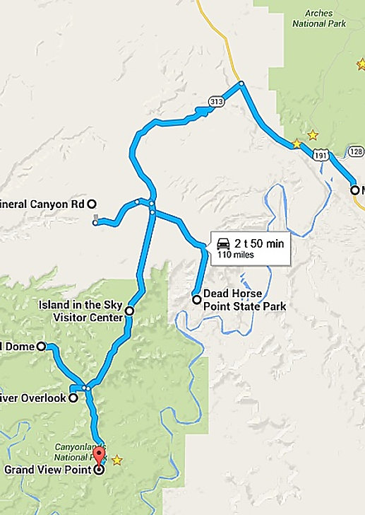 Kort over Canyonlands