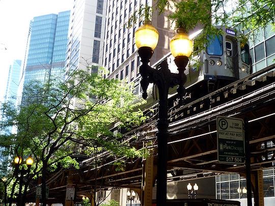 Højjernbane i Chicago. The loop, Roadtrip ruter og nationalparker i USA