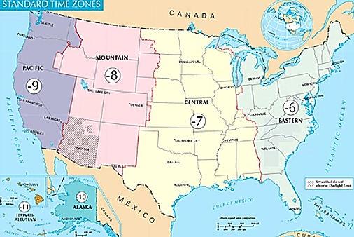 Tidszoner i USA.Roadtrip ruter og nationalparker i USA