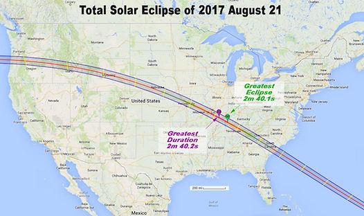 Solformørkelsen i USA går fra vest mod øst.