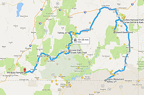 Rute til Utahs store nationalparker. Roadtrip ruter og nationalparker i USA.