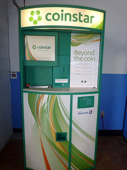 Coinstar. Maskine der veksler små mønter.