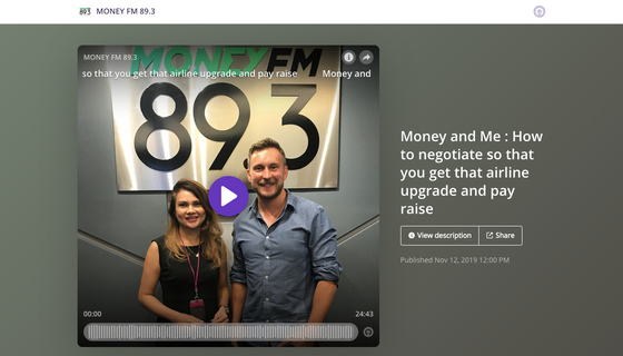 Money FM 89.3 Your Money with Michelle Martin: How to negotiate so you get an upgrade on a plane and