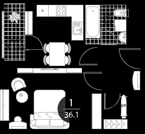 Квартира 1 комната, 36.1 кв.м