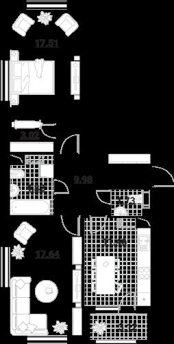 Апартаменты 2 комнаты, 69,28 кв.м