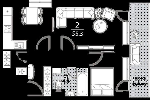 Апартаменты 2 комнаты, 55,3 кв.м