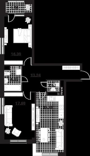 Квартира 2 комнаты, 75,19 кв.м