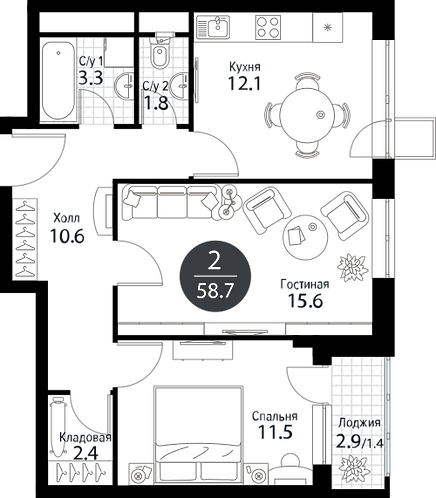 Квартира 2 комнаты, 58,7 кв.м