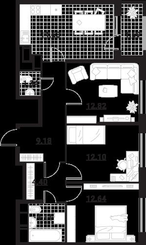 Квартира 3 комнаты, 72,91 кв.