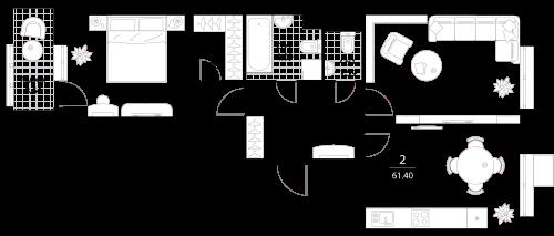 Апартаменты 2 комнаты, 61,4 кв.м