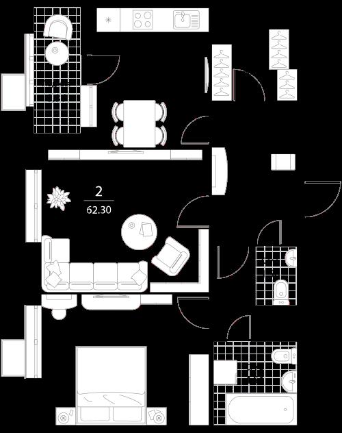 Апартаменты 2 комнаты, 62,3 кв.м