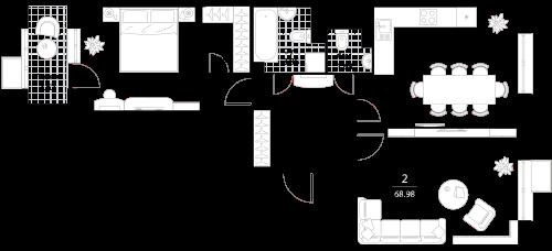 Апартаменты 2 комнаты, 68,98 кв.м