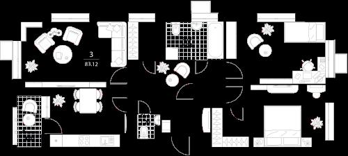 Апартаменты 3 комнаты, 83,53 кв.м