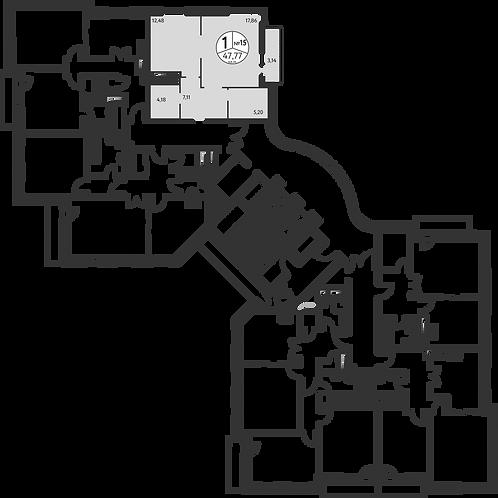 СЧ в Олимпийской деревне| Квартира 1 комната, 48,6 кв.м