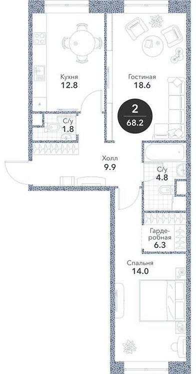 Квартира 2-комнаты, 68,6 кв.м