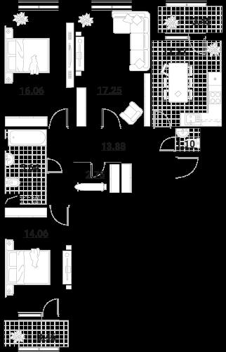 Апартаменты 3 комнаты, 89,02 кв.м