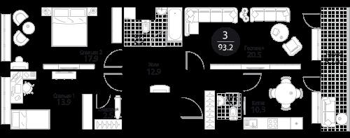 Апартаменты 3 комнаты, 93,2 кв.м