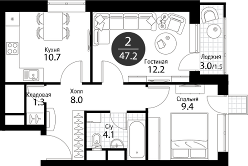 Квартира 2 комнаты, 47,2 кв.м
