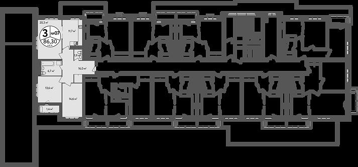 СЧ в Вешняках| Квартира 3 комнаты, 86,7 кв.м