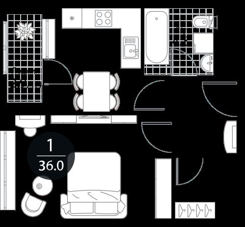 Квартира 1 комната, 36 кв.м