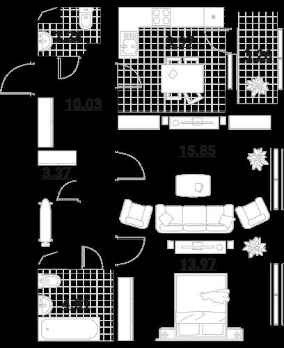 Апартаменты 2 комнаты, 63,54 кв.м